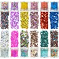 Azberg Body Glitter 180g Pack of 12 - Holographic Chunky Glitters for Nail Eye Face and Makeup - Resin Glitter in Different S
