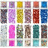 Azberg 12 Colors Holographic Chunky Glitter 180g for Body Face Makeup Nail and Resin - Different Size Face Glitter for Cosmet