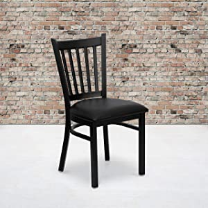 Flash Furniture 2 Pack HERCULES Series Black Vertical Back Metal Restaurant Chair - Black Vinyl Seat