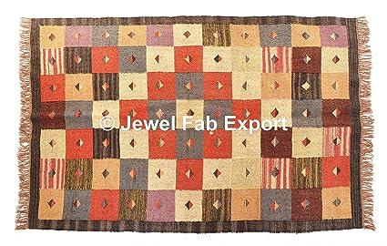 Tappeti In Tessuto Naturale : Tappeto patchwork tessuto a mano in tinta unita cotone