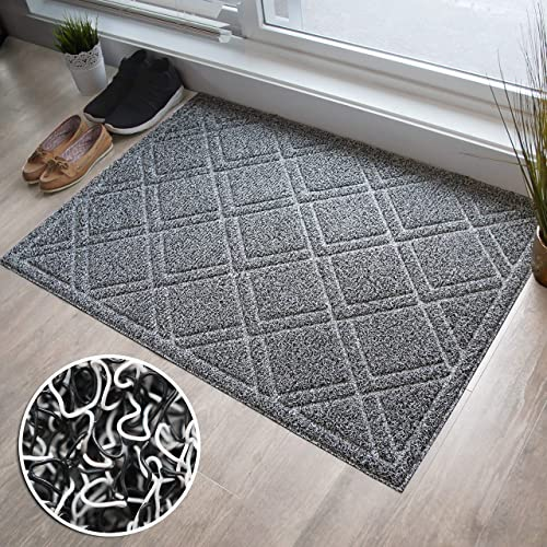 BrigHaus Extra Large Outdoor Indoor Door Mat Non-Slip Heavy Duty Front Welcome Doormat Rug, Outside Patio, Inside Entry Way, Catches Dirt Dust Snow Mud – Black White 32 x 44