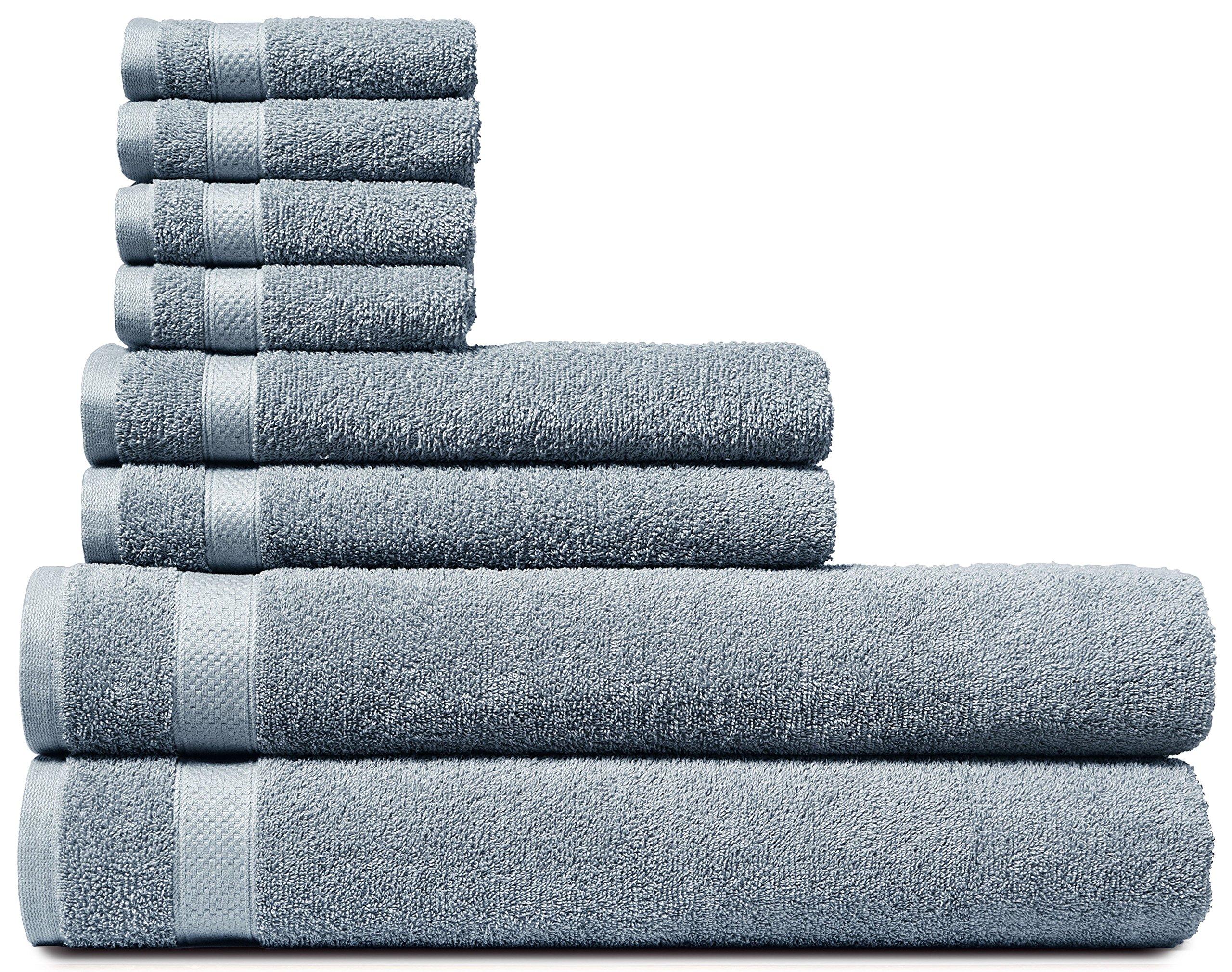 Welhome Cotton 8 Piece Towel Set; 2 Bath Towels, 2 Hand Towels And 4 Washcloths, Machine Washable, Super Soft Neutral Grey
