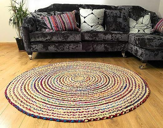 Fair Trade Alfombra grande redonda trenzada de algodón, yute ...
