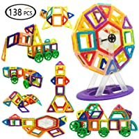 Reliancer 138PCS DIY Magnetic Building Blocks Set 3D Construction Building Tiles Magnet Playboards Educational Block Stacking Toys Set For Kids Creative Learning Education