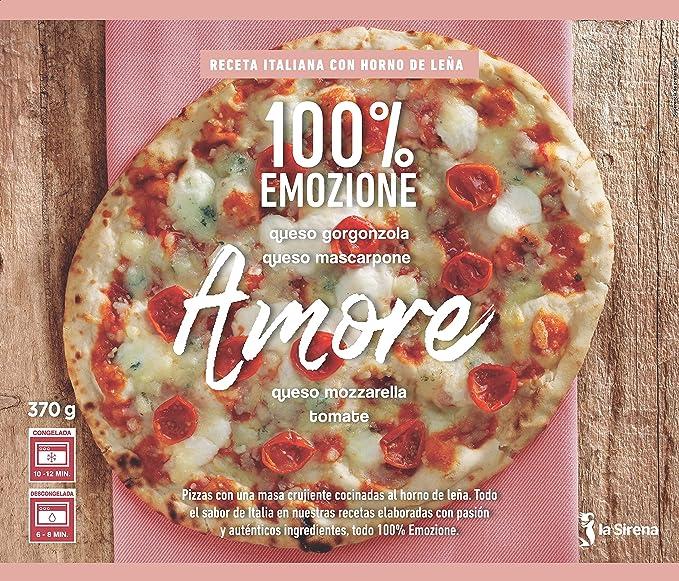 La Sirena Pizza Amore de queso Gorgonzolla, Mascarpone y Tomate 370 gr.