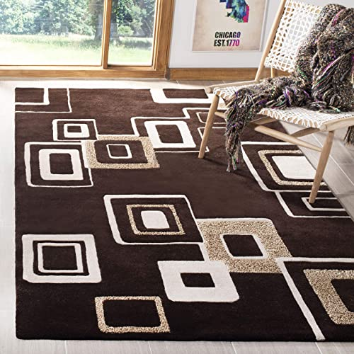 Safavieh Soho Collection Handmade Abstract Brown and Beige Premium Wool Area Rug 9'6″ x 13'6″