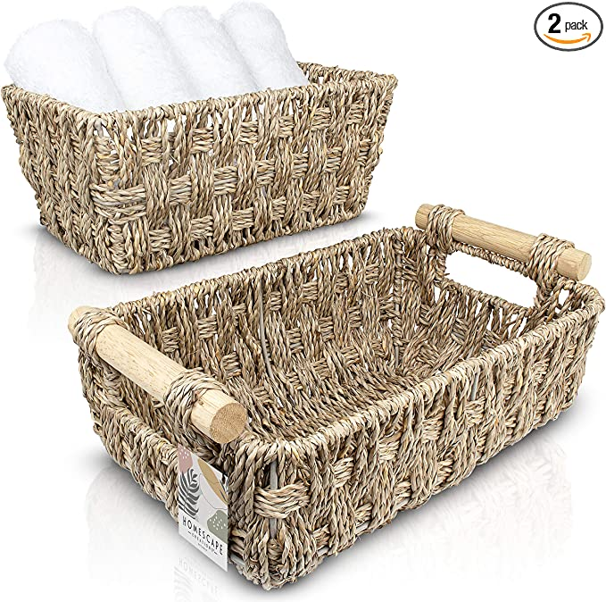 Home//Kitchen//Storage//Laundry//Organizer//Beach//Decor//Baskets Picnic Tote Laundry Basket Toy Cover Beach Bag Hand Woven Plant basket with Strong Handle Toy Storage Organic Seagrass Basket