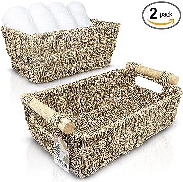 Amazon Com Homescape Creations Set Of 2 Woven Seagrass Basket With Wooden Handles Small Wicker Storage Baskets Handmade Bathroom Decor Organizer Home Improvement
