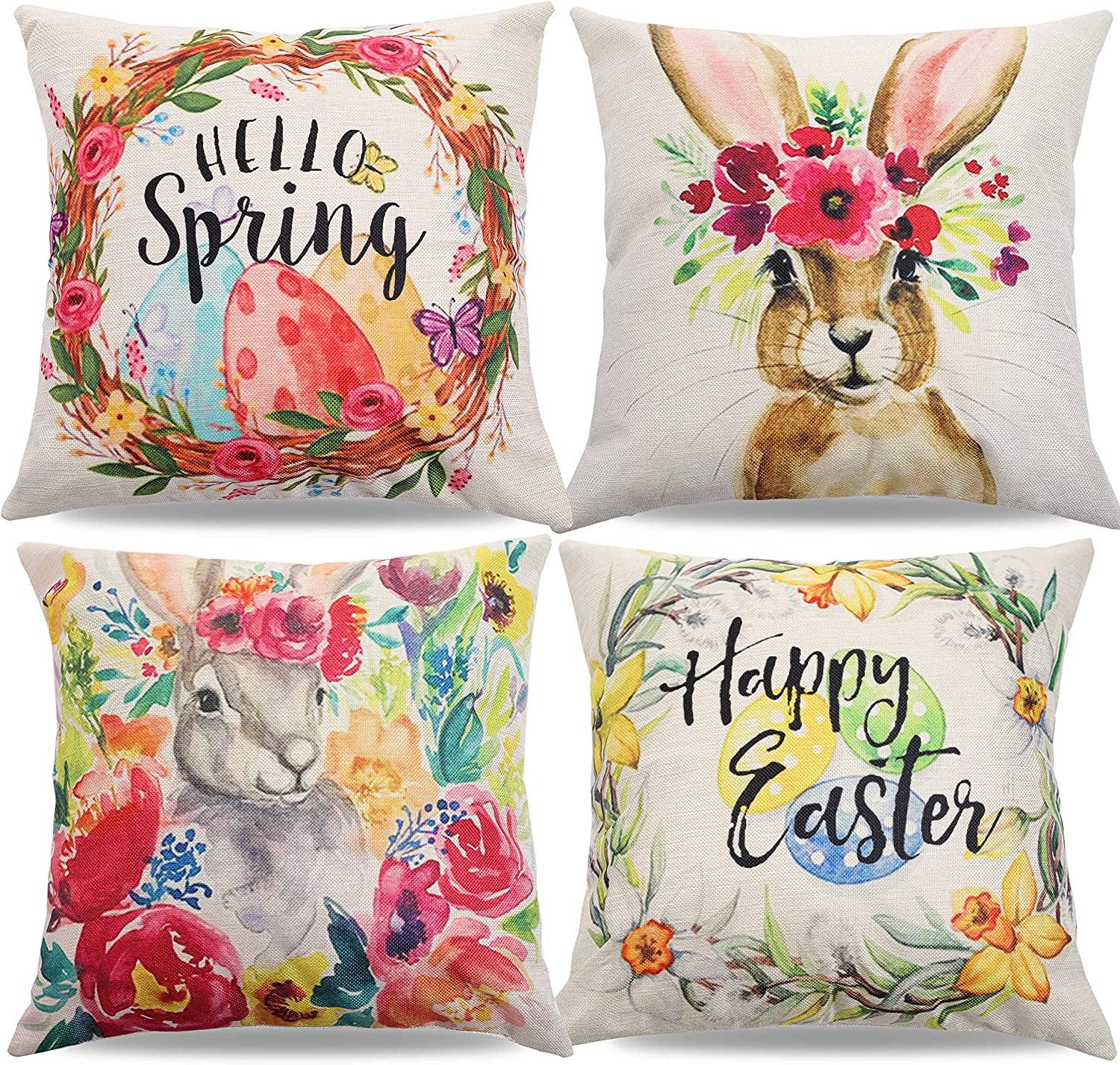 CYNOSA Easter Pillow Covers 18x18 Inches Set of 4 for Easter Decor, Rabbit Bunny Wreath Eggs Cotton Linen Sofa Bed Throw Pillow Case Cushion Cover Home Decorations
