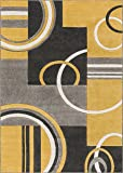 Well Woven 600115 Gold Galaxy Waves Modern Abstract