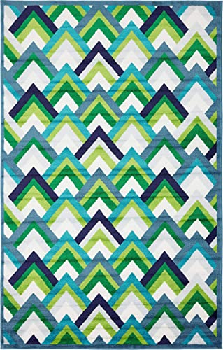 Unique Loom Metro Collection Abstract Scales Modern Bright Colors Blue Area Rug 5 0 x 8 0