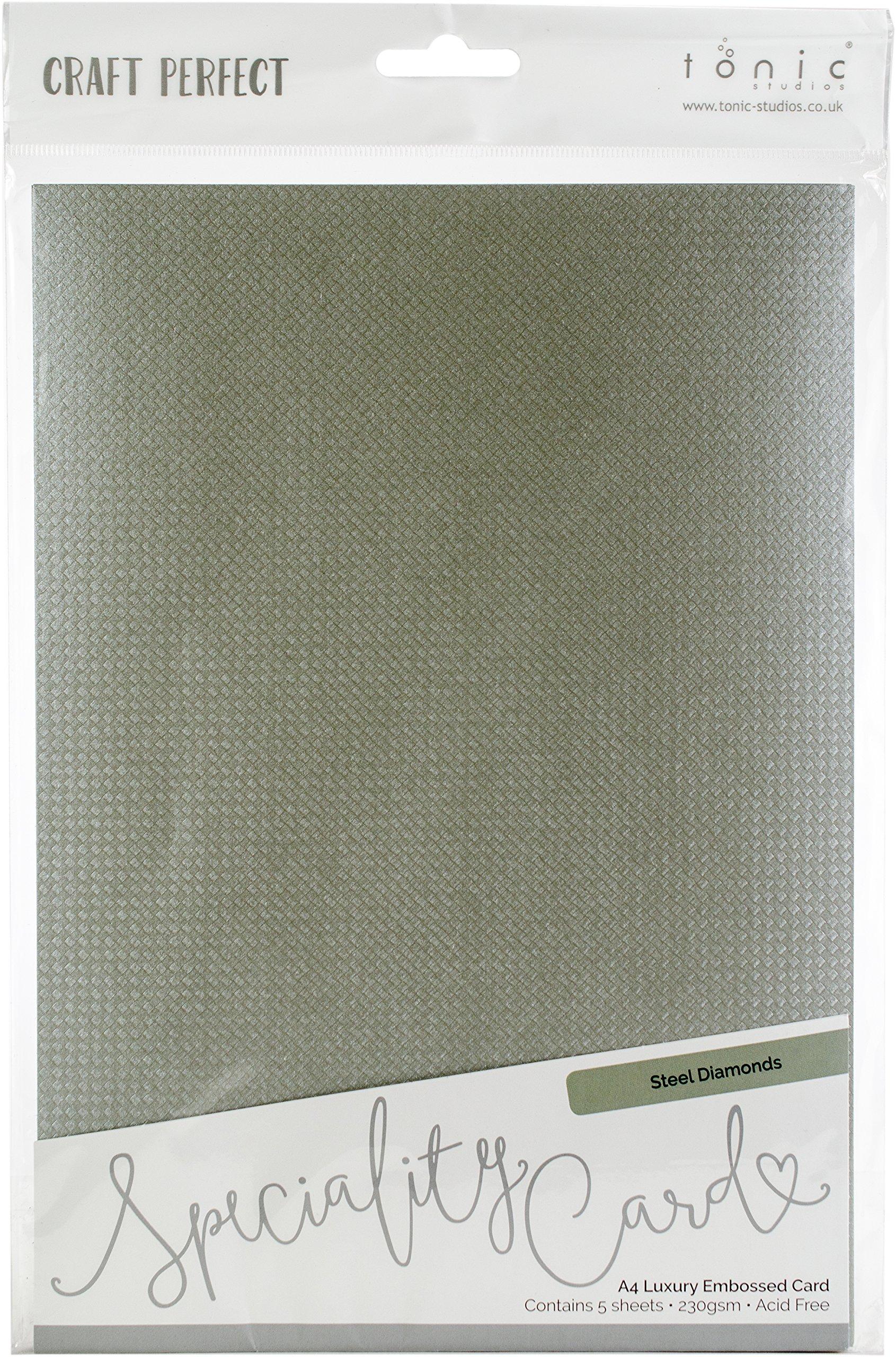 Tonic Studios 9819E Steel Diamonds Craft Perfect Luxury Embossed A4 Cardstock (5 Per Pack) Multicolor