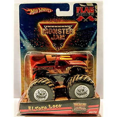 Hot Wheels 2010 Monster Jam Flag Series - El Toro Loco (Red) with Mud Trucks 40/75: Toys & Games