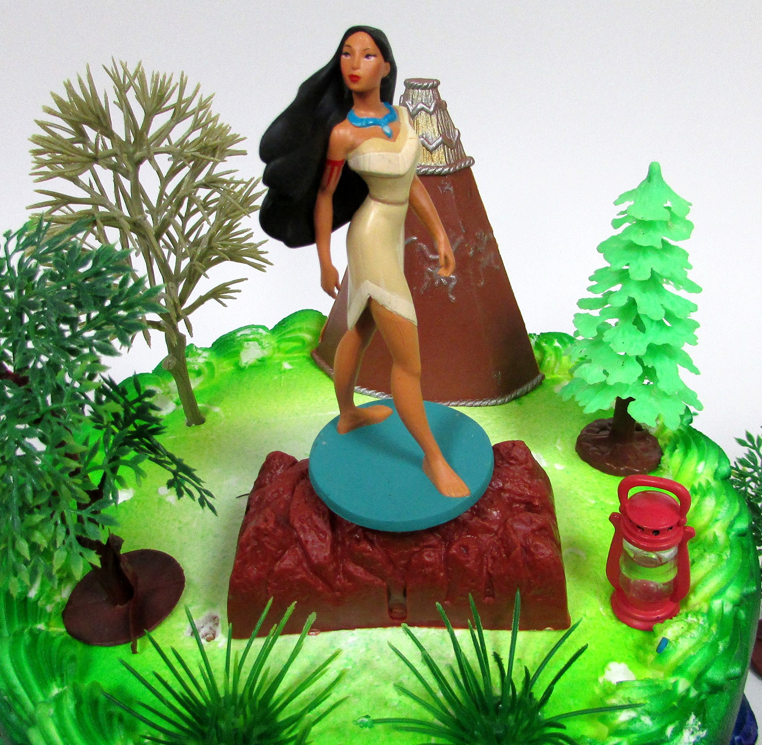 Pocahontas Themed PRINCESS POCAHONTAS Birthday Cake Topper Set Featuring Pocahontas Figure and Decorative Accessories by Cake Toppers (Image #3)
