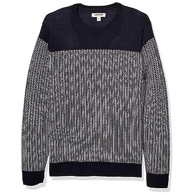 Brand - Goodthreads Men's Lightweight Merino Wool/Acrylic Crewneck Herrinbone Sweater: Clothing