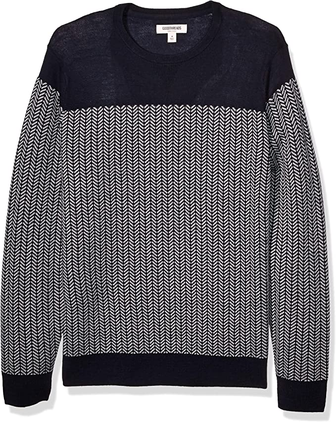 Men's Vintage Sweaters, Retro Jumpers 1920s to 1980s Amazon Brand - Goodthreads Mens Lightweight Merino Wool/Acrylic Crewneck Herrinbone Sweater $36.62 AT vintagedancer.com