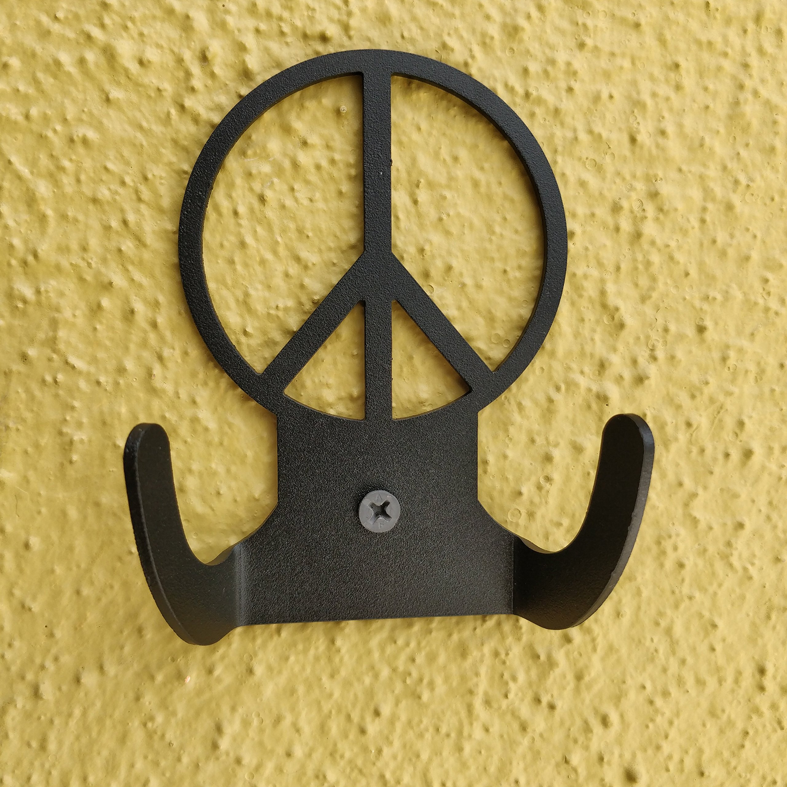 HeavenlyKraft Peacelogo Steel Wall Hook Dual Holder for Living Room Coat Hat Robe Hanger Bathroom Towel Kitchen Strong Heavy Duty Garage Storage Organizer Utensil Hook Single, 4 X 3.14 X 1.4 Inch