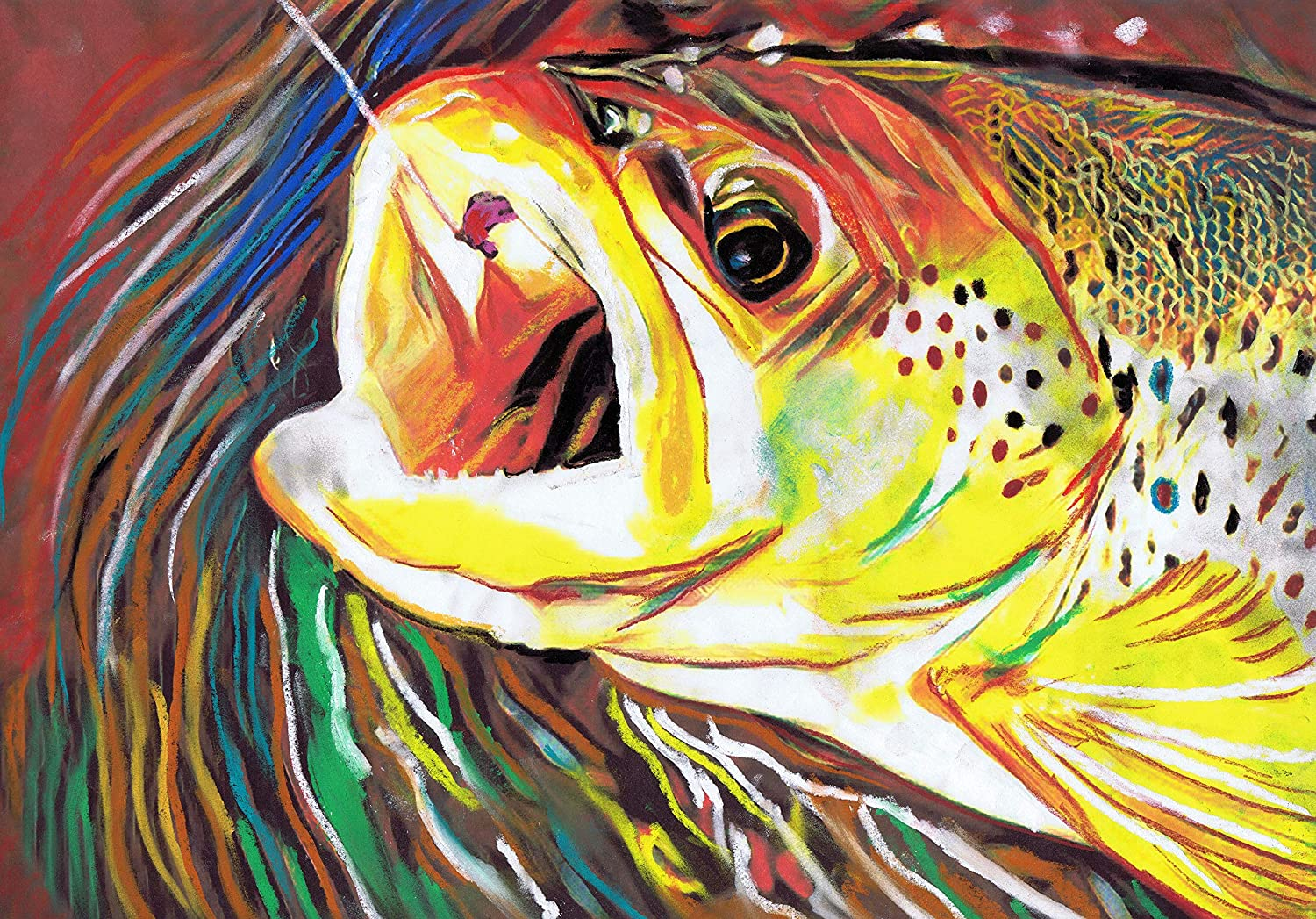 Fly Fishing Trout Art, Pastel Painting Wall Art Print, Hand Signed Fishing Gift By Jack Tarpon, Trout Fisherman Gift, Fish Decor, Colorful Fisherman Gift