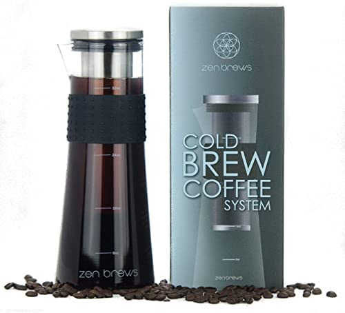 Cold Brew Coffee Maker by Zen Brews Make Low Acidity - High Caffeine Cold Brew Coffee at Home 32oz Glass Carafe w Stainless Steel Filter Extra Gasket Silicone Grip