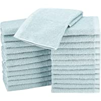 AmazonBasics Terry Cotton Washcloths - Pack of 24, Ice Blue
