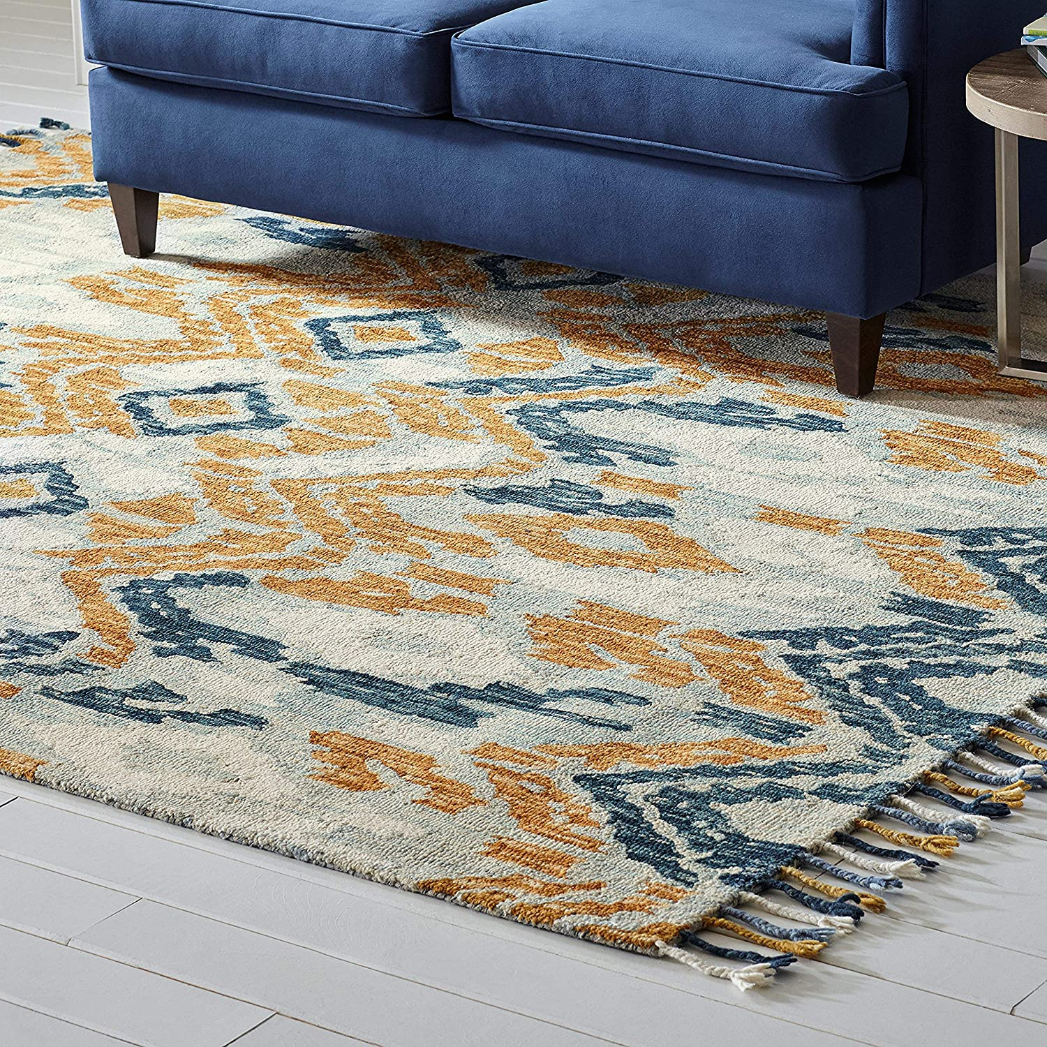 Stone & Beam Modern Global Ikat Wool Area Rug, 8 x 10 Foot, Blue