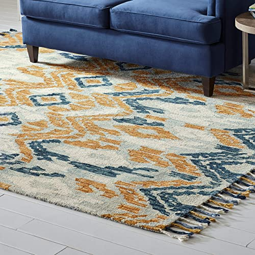 Amazon Brand Stone Beam Modern Global Ikat Wool Area Rug, 8 x 10 Foot, Blue