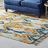 Amazon Brand – Stone & Beam Modern Global Ikat Wool Area Rug, 8 x 10 Foot, Blue