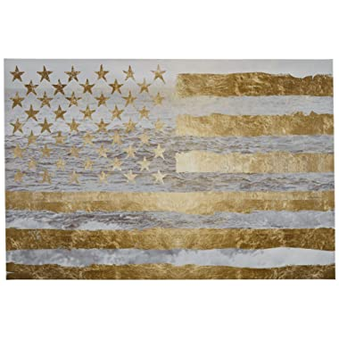 Rivet Gold American Flag by The Sea on Canvas Wall Art, 24  x 16