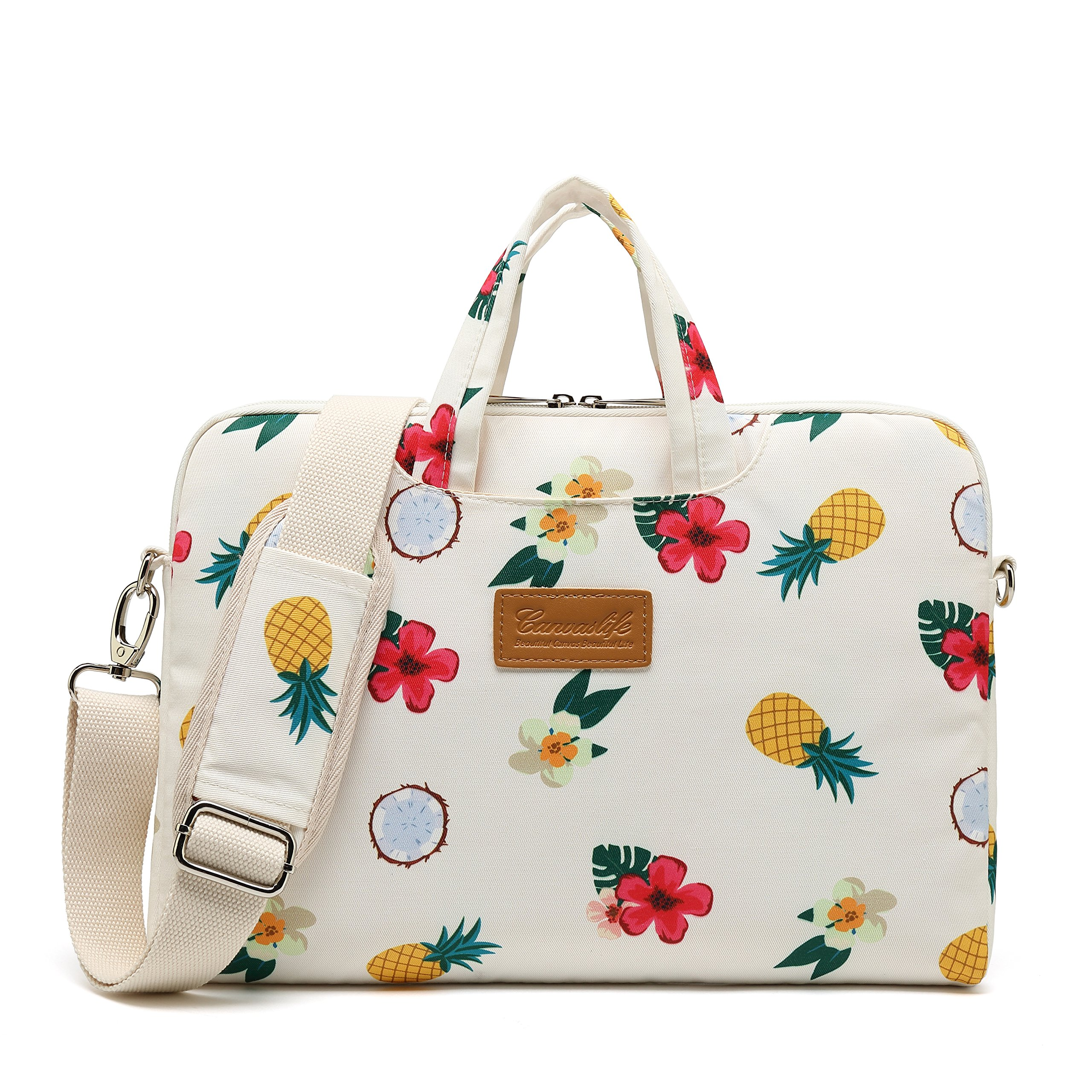 Canvaslife Pineapple Pattern 15 inch Waterproof Laptop Shoulder Messenger Bag Case with Rebound Bubble Protection for 14 inch-15.6 inch Laptop 15 Case Bag