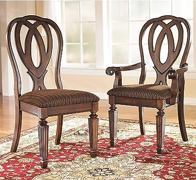 Amazon Com Ashley Furniture Signature Design Hamlyn Dining Uph Side Chair Medium Brown Finish Set Of 2 Chairs