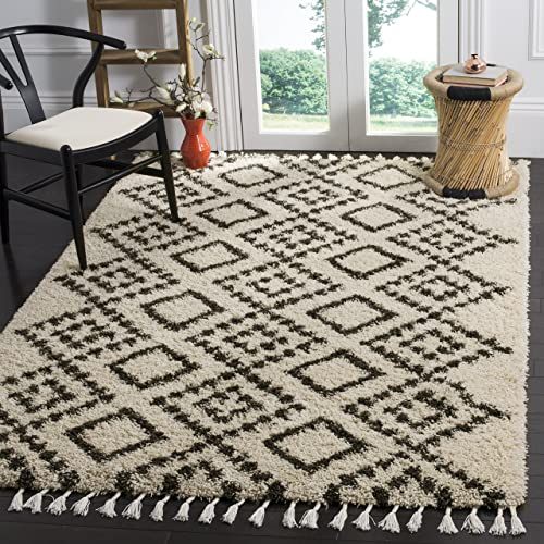 Safavieh Moroccan Fringe Shag Collection MFG245B Cream and Charcoal Grey Area Rug 5'1″ x 7'6″