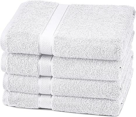 Amazon Com Amazon Brand Pinzon 4 Piece Egyptian Cotton Bath Towels Set White Home Kitchen