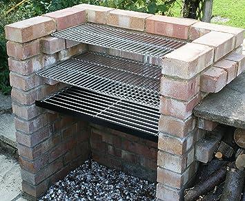DIY Kit de barbacoa de ladrillos con 6 mm inoxidable con grill de carbón y parrilla: Amazon.es: Jardín