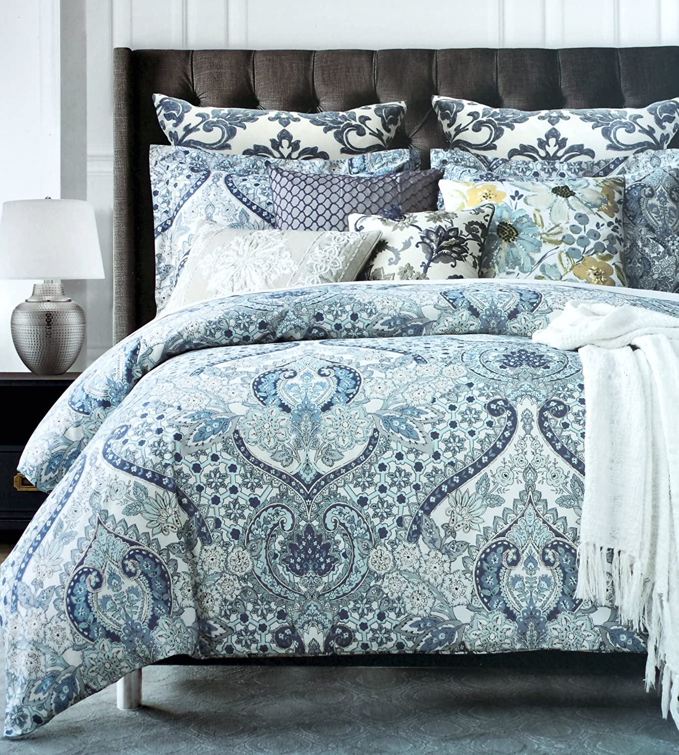 Tahari Home Luxury Bohemian Duvet Cover Luxury Eastern Floral Ornate Medallion Print in Blue Grey 3 Piece Bedding Set