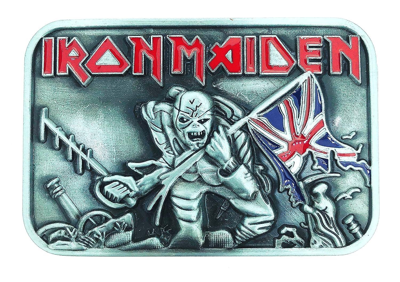 b20e86686917 Caliente de la venta Hebilla de Cinturón Iron Maiden Trooper. Delicado Bishilin  Acero Inoxidable Anillo para Hombre Alto Pulido Rnd Ancho 8MM Anillos Plata  ...
