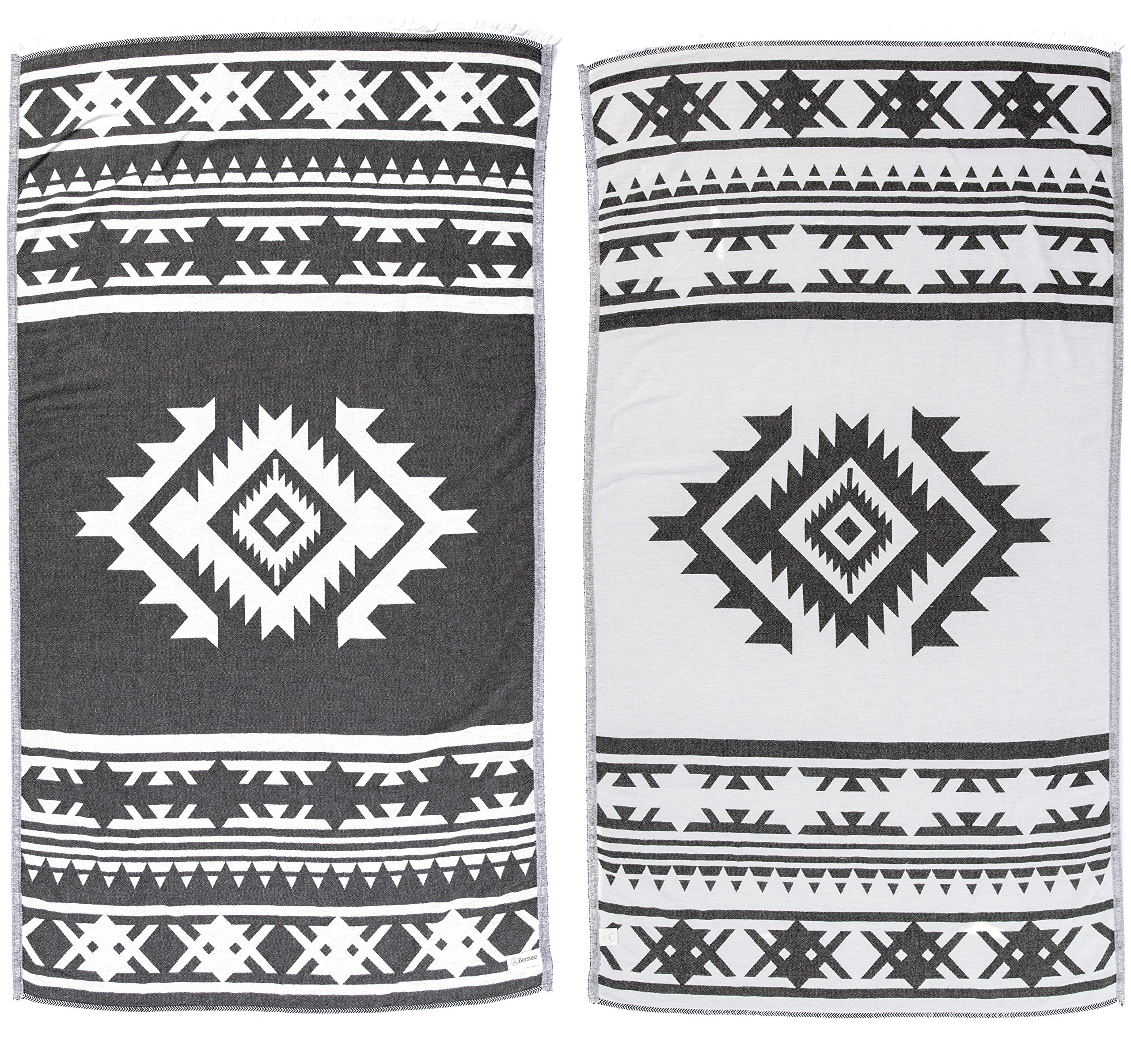 Bersuse 100% Cotton - Cozumel Turkish Towel - Peshtemal Bath Beach Towel - Aztec Pattern - Dual-Layer, Oeko-TEX - 39 x 71 Inches, Black (Set of 3)