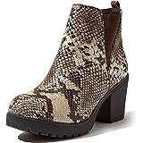 DailyShoes Botines Chelsea para mujer con panel elástico y tacón grueso