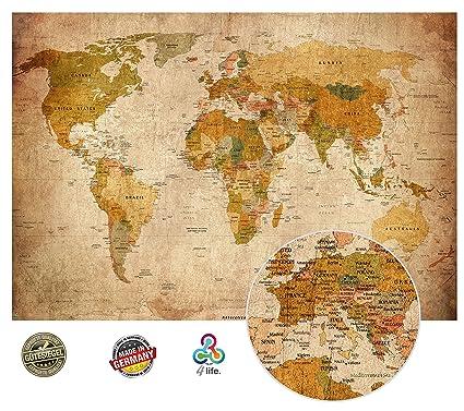 Vecchia Mappa Del Mondo Look Vintage XXL Murale In 140cm X 100 Cm