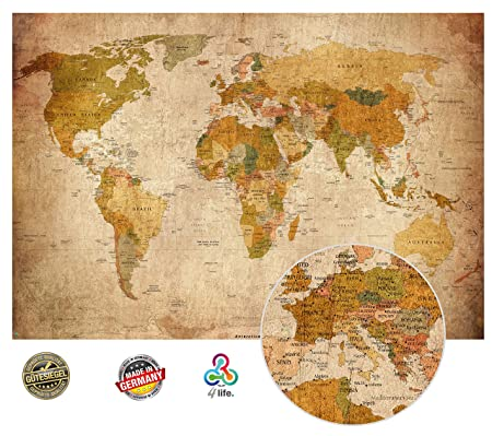Old world map in vintage look xxl wall art in hd poster 140cm x 100 old world map in vintage look xxl wall art in hd poster 140cm x 100 cm gumiabroncs Image collections