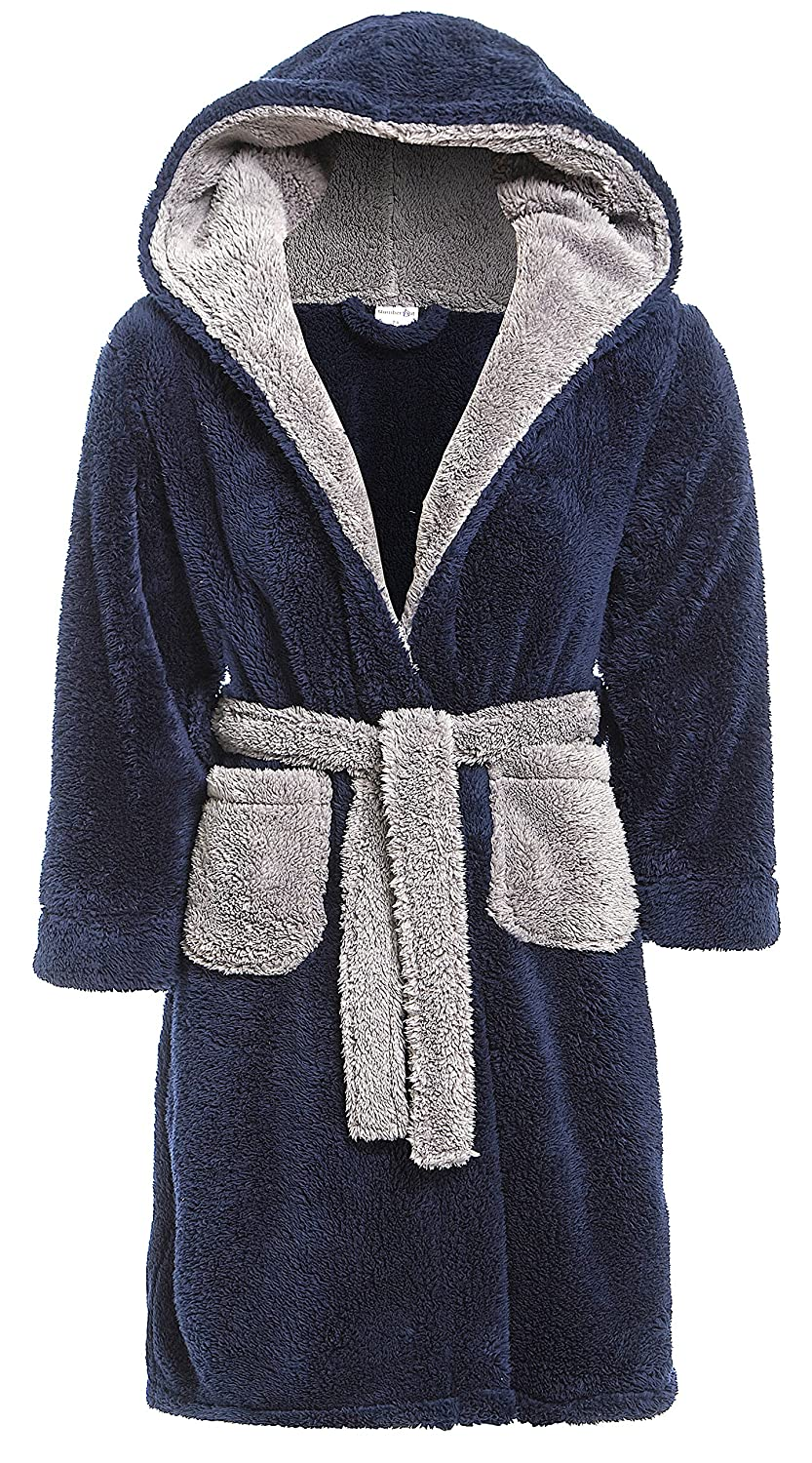 Boys Snuggle Fleece Hooded Dressing Gown Contrast Collar Grey Navy Blue Size UK 7 8 9 10 11 12 13 Years