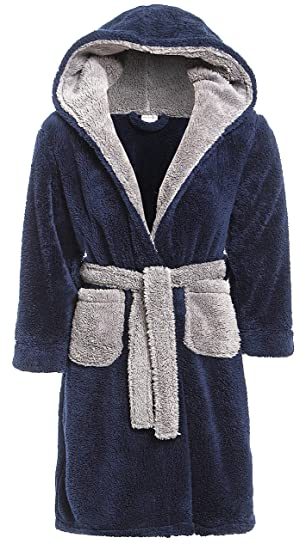 Slumber Hut Garçons Robe De Chambre Luxe Polaire Chaud Les Enfants Vêtement De Nuit Bleu Marin Gris Taille 7 à 13 Ans