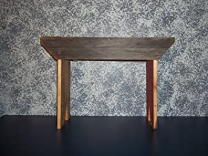 Amish Hand Crafted 18 Inch Barnwood Bench. Makes a Great Home and Garden Gift. Made From Decades Old Weathered Barnwood Found in Amish Country. This Is a Sturdy Bench That Adds Rustic Charm to Your Home and Graden Primitive Country Decor.