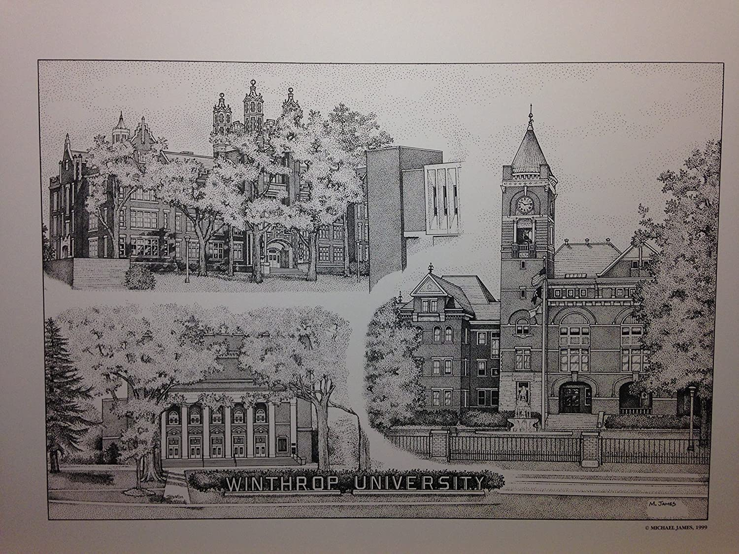 Winthrop University 12'x16' pen and ink collage print