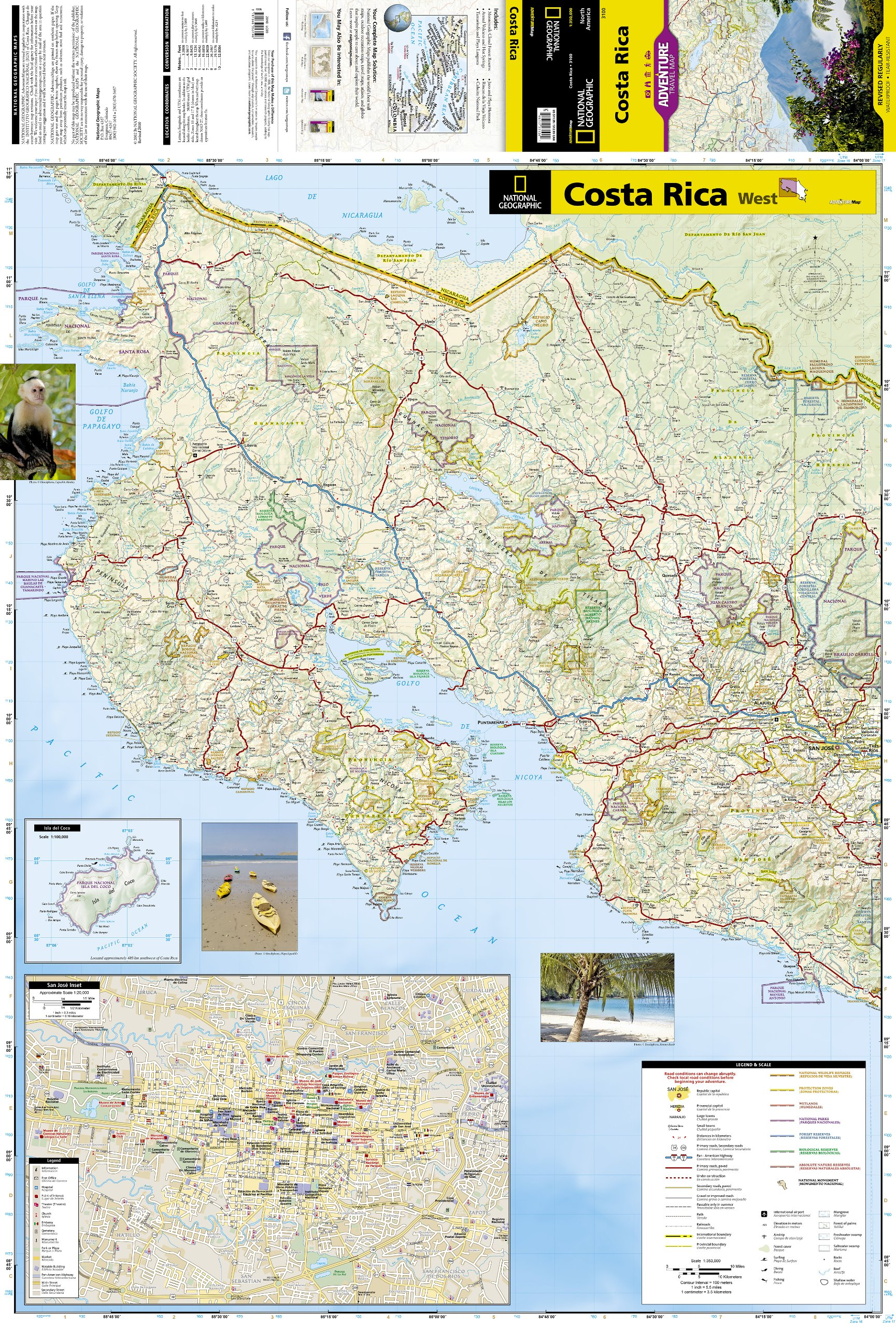 Costa Rica Adventure Travel Map Trails Illustrated National – Travel Map Of Costa Rica