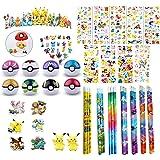 168 pc Pokemon Party Favor Bundle Pack: 6 Pokemon Figures, 6 Poke Ball, 144 Sticker, 6 Pencil & 6 Eraser