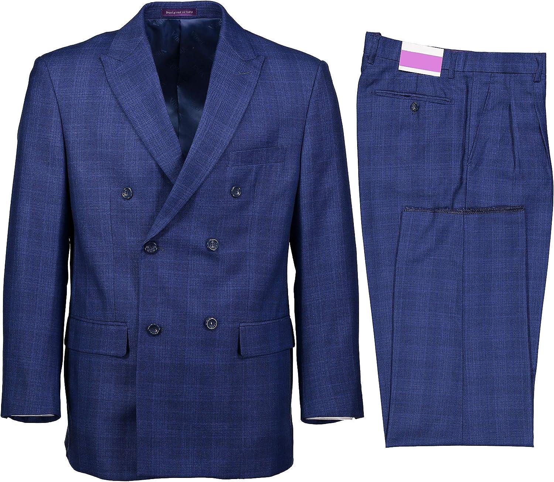VINCI Men's Glen Plaid Double Breasted 6 Button Classic Fit Suit New