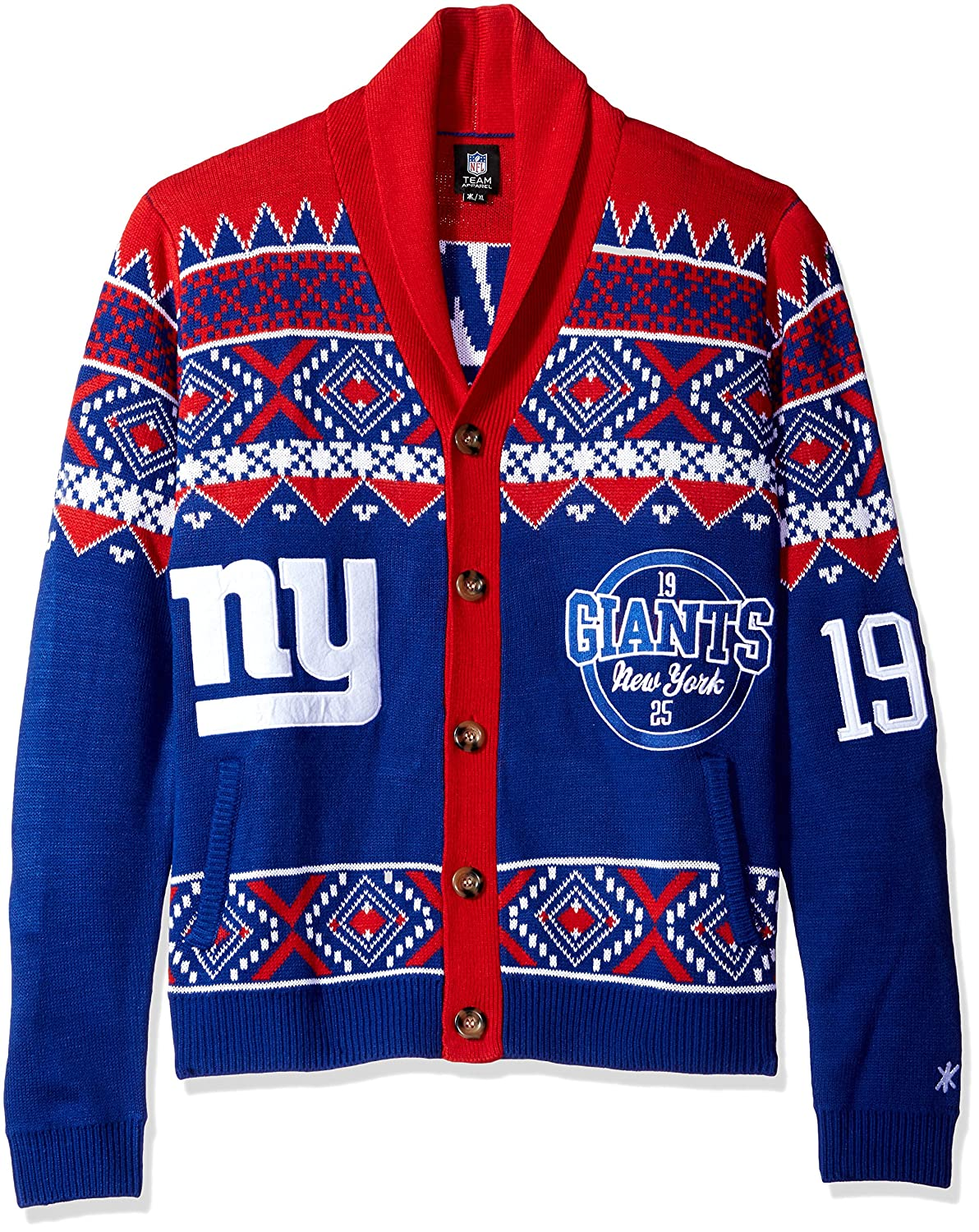 the best attitude ffcd5 9f622 Klew New York Giants Men's NFL 2015 Ugly Sweater Cardigan