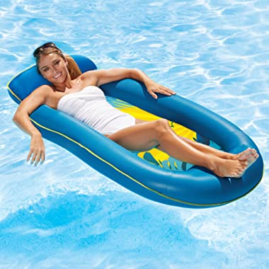 Aqua Comfort Water Lounge with Headrest & Footrest, Inflatable Pool Float, Blue Bubble Waves