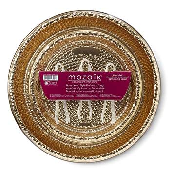Mozaik Premium Plastic Hammered Gold Serving Platter and Tongs Set, 6 pieces