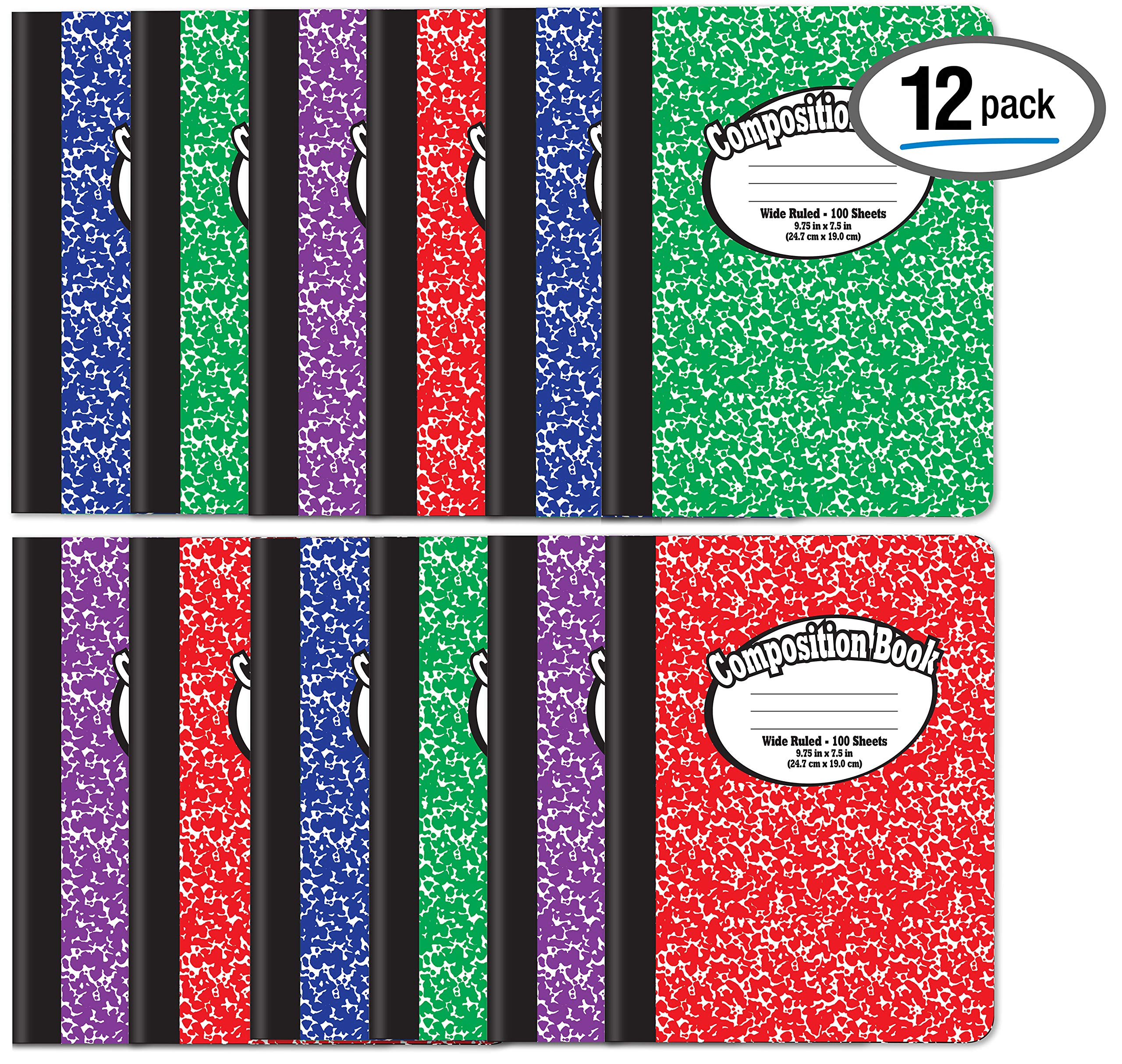 Composition Book Notebook - Hardcover, Wide Ruled (11/32-inch), 100 Sheet, One Subject, 9.75'' x 7.5'', Assorted Covers: Red, Blue, Green, Purple-12 Pack